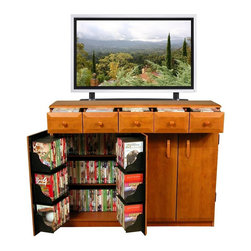 Venture Horizon - Top Load Media Cabinet w Drawers & 4 Doors in - With drawers to keep movies and music organized and easily accessible, this five-drawer media cabinet will be a stylish and functional addition to your home decor. It is made of wood composite in cherry and black finishes and is designed to accommodate a flat screen TV. 5 Drawer storage - waist high. Can hold a 42 in. or even larger Plasma TV. Large storage capacity. Elegant styling. Constructed from durable, stain resistant and laminated wood composites that includes MDF. Made in the USA. Assembly required. Media storage capacity:. CD's : 825. DVD's : 440. Blu-ray's: 672. VHS tapes: 260. Disney tapes: 160. Audio cassettes: 800+. Weight: 118 lbs.. Assembled Size: 48.5 in. W x 13 in. D x 37.25 in. H. Drawers: 10 in. L x 8.5 in. W x 5.5 in. HFor those that prefer drawers we developed Model # 2368 and gave them 5 waist high storage compartments. This new Media Cabinet is based on the Top Load Cabinet design. However, we substituted drawers for the upper cabinet. Now you can add a 42 in. Plasma TV. Perfect for storing the most used media because there is no stooping and bending to retrieve your favorite movie. The top as well as the doors, drawers and routed insets are elegantly molded creating a soft stylish appearance.