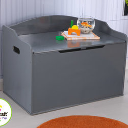 Kid Kraft - Kids Kraft Gray Colored Austin Toy Box From Vista Stores - This is kid kraft Gray Colored Austin Toy Box From Vista Stores. It helps kids to keep all of their favorite toys, note books and playing equipment in one convenient Storage place. This sturdy Austin toy box fit fine and look awesome in any room corner. It ha safe hinge on lid which protects your kids fingers from getting pinched. It Doubles The seating with its chest and keep bedroom organized and clean.