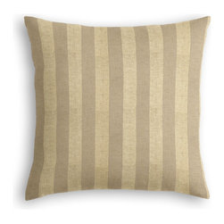 Metallic Gold Striped Beige Linen Custom Pillow - The every-style accent pillow: this Simple Throw Pillow works in any space.  Perfectly cut to be extra fluffy, you'll not only love admiring it from afar but snuggling up to it too!  We love it in this classic awning stripe with a modern metallic twist: gold foil printed on beige linen.