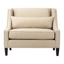 Home Decorators Collection - Fulham Chair - Our Fulham Chair offers a smooth juxtaposition of straight and curved lines. Your choice of upholstery is augmented by nailhead trim; the chair stands on lovely merlot-finished legs as though on display. Legs in merlot finish. Includes one back pillow. Nailheads in silver finish. Padded hardwood frame. 8-gauge sinuous spring support system. Plump 5-ply cushions. Made in the USA.