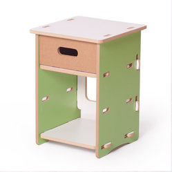Quark Enterprises - Kids Nightstand, Green and White - This nightstand would surely stand the test of time with a growing child. It's the perfect size for holding a lamp, a few special keepsakes and a revolving stack of bedtime stories.