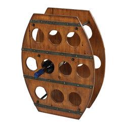 Wood Barrel Wine Rack - *Dimensions: 7L x 19W x 24H