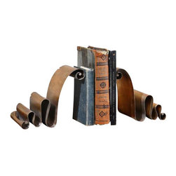 Uttermost Ribbon Bookends Set/2 - Distressed, copper bronze metal. Distressed, copper bronze metal.