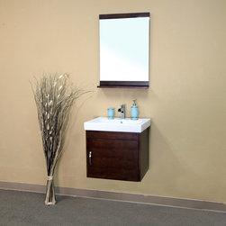 Bellaterrra - Bellaterra 203136 24.4 In Single Wall Mount Style Sink Vanity-Wood- Walnut - 24. - Bellaterra 203136 24.4 In Single Wall Mount Style Sink Vanity-Wood- Walnut - 24.4x19.5x23.6 in.