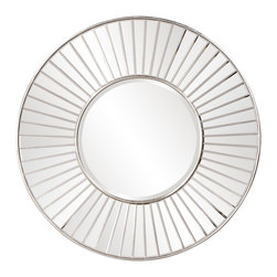 Howard Elliott - Bella Round Mirror - Our exquisite Bella mirror features a beveled mirror on mirror frame and is finished with a warm silver leaf inset and border.