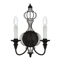 Savoy House - Abagail 2 Light Sconce - Abagail is a Pierce Paxton design with graceful curves and charming simplicity. The Forged Black finish and soft beeswax candles have a vintage feel that adds warmth and beauty to today's homes.