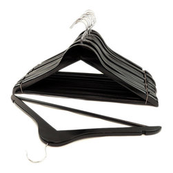 None - Black Wood Suit Hangers (Set of 16) - Hang your clothes without the worry of creases and wrinkles with these black wooden hangers. Constructed with multiple coatings of lacquer for a smooth finish and durable chrome steel hooks make these hangers suitable for men and women.