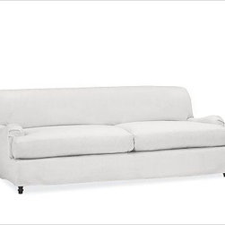 """Carlisle Slipcovered Sofa, Down-Blend Wrap Cushions, Washed Linen/Cotton White - We set out to create a sofa that is stylish, easy to care for and built to last. The result is our Carlisle Apartment Sofa, designed with a deep seat and low back for unparalleled comfort. 78"""" w x 41"""" d x 34"""" h {{link path='pages/popups/PB-FG-Carlisle-3.html' class='popup' width='720' height='800'}}View the dimension diagram for more information{{/link}}. {{link path='pages/popups/PB-FG-Carlisle-4.html' class='popup' width='720' height='800'}}The fit & measuring guide should be read prior to placing your order{{/link}}. Down-blend wrapped cushions provide a casual and relaxed look. Proudly made in America, {{link path='/stylehouse/videos/videos/pbq_v36_rel.html?cm_sp=Video_PIP-_-PBQUALITY-_-SUTTER_STREET' class='popup' width='950' height='300'}}view video{{/link}}. For shipping and return information, click on the shipping info tab. When making your selection, see the Special Order fabrics below. {{link path='pages/popups/PB-FG-Carlisle-5.html' class='popup' width='720' height='800'}} Additional fabrics not shown below can be seen here{{/link}}. Please call 1.888.779.5176 to place your order for these additional fabrics."""