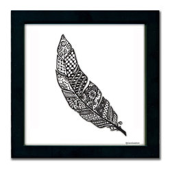 Feather Pen & Ink - This delicate feather is a print of a pen and ink drawing by Pamela Corwin. The tiny intricate patterns in each of Pam's pen & inks create beautifully detailed graphic designs. Framed in a classic black frame and available in two sizes, this handsome print will fit in any room . They look great in sets of two or three.