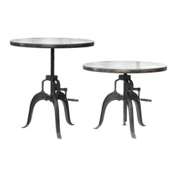 Roman Crank Table - This unique, industrial table is made of heavy steel and includes a crank that adjusts the height of the table.
