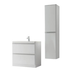 "35.5"" Avesta White Modern Single Bath Vanity Bundle"