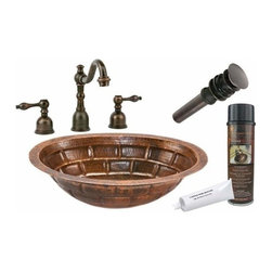 Premier Copper Productsu - Undermount Copper Stacked Stone Sink w/Faucet - BSP2_LO19FBKDB Premier Copper Products Oval Stacked Stone Under Counter Copper Sink with ORB Widespread Faucet, Matching Drain and Accessories
