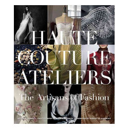 """Vendome Press - """"Haute Couture Ateliers: The Artisans of Fashion"""" Hardcover - Haute Couture Ateliers' takes the reader on a tour of fashion's backstage, inhabited not only by exceptional designers but also by lace makers, weavers, textile finishers, pleaters, jewelers, feather workers, leather makers, embroiderers, and many other special-ized craftspeople. With painstaking attention to detail and exceptional workmanship, they can create anything and everything a designer can imagine. Exquisite photogra-phy captures this unchanged world of small workshops where artisans practice ancient trades--though a number have evolved with the times: while some weavers still use looms, others use high-speed precision machines, guided by proprietary software. Helene Farnault, France's leading authority on haute couture crafts, explains the rarefied hierarchies and mysteries of these extraordinary artisans, bringing talented milliners and trimming experts into the spotlight."""
