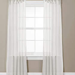 Lush Décor - White Helena Curtain Panel - Set of Two - These elegant curtains feature loose loops for easy installation and provide unity to a bedroom or living room with their quaint and delicate frame.   Includes two panels 38'' W x 84'' H Polyester Dry clean Imported