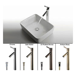 Kraus - Kraus Rectangular Ceramic Sink and Sheven Faucet - Instantly update the look of your bathroom with this stylish ceramic sink by Kraus. As well as being easy to maintain, the sinks smooth non-porous surface ensures it wont fade or discolor. Style meets quality with the solid brass, single-hole faucet.