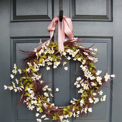 Apple Blossom Wreath by HomeHearthGarden - Another original spring wreath and summer wreath design. Handmade with artificial Apple Blossom flowers with grass fronds, and finished with a dusty-rose colored bow. A perfect decoration during the spring and summer months.