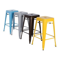 Chintaly - Chintaly Tremont 30 in. Galvanized Steel Backless Bar Stools - Set of 4 - CTY135 - Shop for Chairs and Sofas from Hayneedle.com! Get that French bistro look in your home bar with the colorful Chintaly Tremont 30 in. Galvanized Steel Backless Bar Stools - Set of 4. This set of four stools has a backless design for a classic bistro look. They come in your choice of vibrant color. These bar stools are made of galvanized steel for lightweight durability and have rubber stops to protect floors. The handle in the seat adds to the charm. About Chintaly Imports Based in Farmingdale New York Chintaly Imports has been supplying the furniture industry with quality products since 1997. From its humble beginning with a small assortment of casual dining tables and stools Chintaly Imports has grown to become a full-range supplier of curios computer desks accent pieces occasional table barstools pub sets upholstery groups and bedroom sets. This assortment of products includes many high-styled contemporary and traditionally-styled items. Chintaly Imports takes pride in the fact that many of its products offer the innovative look style and quality which are offered with other suppliers at much higher prices. Currently Chintaly Imports products appeal to a broad customer base which encompasses many single store operations along with numerous top 100 dealers. Chintaly Imports showrooms are located in High Point North Carolina and Las Vegas Nevada.