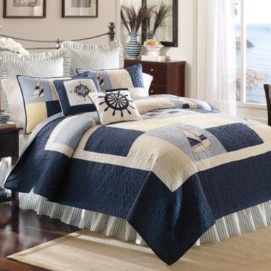 C & F Enterprises, Inc. - Sailing Quilt - Jump aboard this season's nautical fashion obsession with this Sailing quilt and bedding. Classic styling with clean lines and a coastal influence.