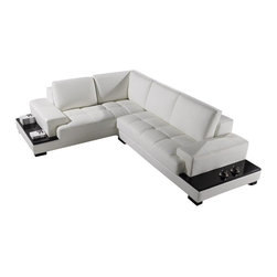 VIG Furniture - Hubble - Modern Leather Sectional - This revolutionary modern sectional sofa is one of a kind - it's style is fresh on the market with a modern look and spacious seating area and a contoured storage unit on the back of the sectional. Its the complete package!
