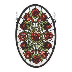 Meyda - 11 Inch W x 17 Inch H Oval Rose Garden Windows - Color theme: Zasdy burgundy 59