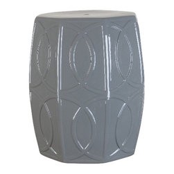 Ceramic Garden Stool - The  modern hexagonal ceramic garden stool can be used indoor and outdoor. Use as a side table, an extra seat, a nightstand or a spot to hide folded towels in the bathroom. Of course, they are also perfectly at home on the patio or in the garden — you'll never be sorry you have one.