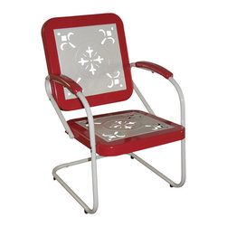 Metal Chair Retro, Red Coral - This retro outdoor chair is great for all of your outdoor needs.  The seats and backrests are trimmed in a vibrant shade of vintage Red Coral to give this set a little fun.  The decorative cutout design makes this chair a very stylish and sophisticated look.  The metal arms with red coral metal capped armrest are a finishing touch to an outstanding chair.  The metal is finished in a rich powder coated paint making it great for that special patio or outdoor area. Clean with a dry non abrasive cloth.   Assembly required.