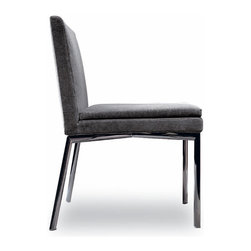 Minotti - Minotti Manet Dining Chair - The poetics of this chair are closely connected to two main hallmarks of this chair: classical quality and modernity.  With a classic shape and its black-nickel finished legs, it projects sophistication.  The seat is let into fireproof polyurethane foam.  Available with out without arms.  Finishes in fabric or leather.  Price includes shipping to the USA.  Manufactured by Minotti.