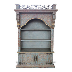 Balcony Cabinet, Turquoise Distressed with Subtle Gold - Balcony Cabinet, Turquoise Distressed with Subtle Gold