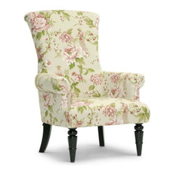 Baxton Studio - Baxton Studio Kimmett Beige and Pink Linen Floral Accent Chair - Pink peonies and hydrangeas cleverly camouflage resplendent birds atop a beige base in this floral print arm chair. Made in China with an engineered wood frame and firm form cushioning (CA117 compliant), the Kimmett Designer Accent Chair highlights scroll arms and black lacquer wood legs, the front two of which feature turned wood. The Kimmett Modern Floral Chair requires minor assembly and calls for spot cleaning as necessary.