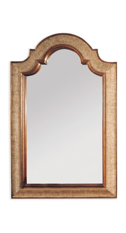 Bassett Mirror - Bassett Mirror Excelsior Wall Mirror - With textured gold, beveled edges, this arched-top mirror is the epitome of simple elegance. Hang it in your powder room, bedroom or entryway to make an exquisite statement.
