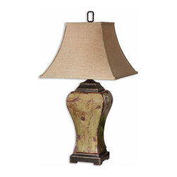 Uttermost - Porano Green Table Lamp - Distressed Porcelain Finished In A Mossy Green Glaze With Rust Undertones And Dark Bronze Metal Details. The Square Bell Shade Is A Rusty Beige Linen Fabric. Number Of Lights: 1, Shade: Square Bell Shade, Shade Size: Height: 14, Top: 9w X 9d, Bottom: 18w X 18d, Voltage: 110, Wattage: 150w, Bulbs Included: No