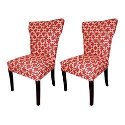 None - Bella Red Wing Back Chairs (Set of 2) - Your friends will compliment you on your impeccable taste when they catch a glimpse of these red wing-back chairs. Their legs are finished in a rich espresso color that adds a striking contrast to the contemporary red-and-white geometric design.