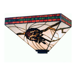 """Meyda - 14""""W Burgundy Pine Branch Mission Wall Sconce - Burgundy and forest green bands edge this woodlandwall sconce that features brown pinecones and barkbrown branches on a pale beige stained glass shade. Bulb type: med bulb quantity: 2 bulb wattage: 60"""