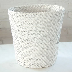 None - Cayman Wastebasket - Complete your bathroom with this Cayman wastebasket. This bath accessory showcases a painted soft white rattan core and peel.