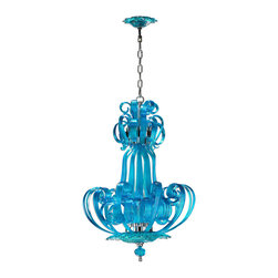 Kathy Kuo Home - Florence Light Blue Aqua Murano Glass 4 Light Pendant Chandelier - Light blue aqua glass curves reach skywards in layers of fountain-like ribbons with four bulbs shining at their center. A  ribbed medallion base seals it all away with a droplet.  This statement chandelier needs no introduction, though it would be perfect in a traditional entrance or dining room.