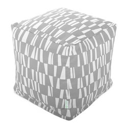 Majestic Home - Outdoor Gray Sticks Small Cube - Versatile, casual and fun, beanbag ottoman cubes are great to have around the house for all kinds of impromptu uses, from footstools to extra seating to side tables. With it's playful modern style and durable, washable cover, this small patterned cube should work for you just about anywhere you need it, indoors or out. You'll wonder what you ever did without it.