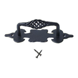 Renovators Supply - Cabinet Pulls Birdcage Black Wrought Iron Cabinet Pull 6'' - Birdcage Pulls. These outstanding Pulls crafted of hand-forged wrought iron are popular on doors, gates, kitchen pantry doors and oversized kitchen drawers. A fabulous detail for a modern sleek look or for that Old Colonial charm. Affordably update old doors & or a bedroom armoire. Our exclusive RSF coating protects this item for years to come. Mounting hardware included.