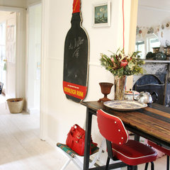 eclectic kitchen vintage blackboard in kitchen