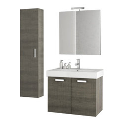 ACF - 28 Inch Grey Oak Bathroom Vanity Set - Set Includes: Vanity Cabinet (2 Doors).