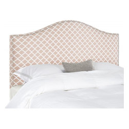 Safavieh - Connie Full Headboard - Peach Pink/White - Make an elegant statement with the Connie Headboard in tightly upholstered polyester-nylon fabric with thick padding to assure luxurious comfort. Nailhead detailing outlines the classic camelback silhouette of this full headboard for sophisticated bedroom fashion.
