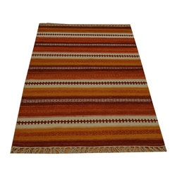 Striped Durie Kilim Flat Weave 3'x5' 100% Wool Hand Woven Reversible Rug SH15793 - Soumaks & Kilims are prominent Flat Woven Rugs.  Flat Woven Rugs are made by weaving wool onto a foundation of cotton warps on the loom.  The unique trait about these thin rugs is that they're reversible.  Pillows and Blankets can be made from Soumas & Kilims.