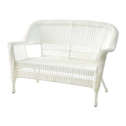 "Jeco - White Wicker Patio Love Seat - With durable, all-weather resin wicker over a powder-coated steel frame, this loveseat is built to withstand anything life throws your way. Unlike real wicker which dries out and cracks, resin wicker is flexible and fade-resistant, which means it stays like new season after season. What's more, all-weather wicker doesn't absorb water and also allows for air flow, making it the perfect choice for the poolside! In addition, this loveseat is virtually maintenance-free and cleaning it is as simple as spraying it down with your garden hose or wiping it with a solution of mild dish soap and water. As fetching as it is functional, this loveseat is the perfect choice for those who want superior quality at a reasonable price.; Steel frame for extra durability; Crafted to withstand seasons of inclement weather; Hose off and wipe clean; Comes fully assembled; Cushions not included; Choose from a variety of cushion colors; Dimensions: 51""L x 25""W x 36""H, 39lbs"