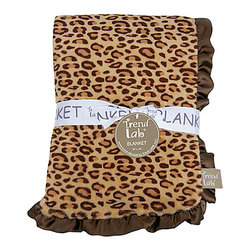 Trend Lab - Trend Lab Berry Leopard Crib Bedding Set - Receiving Blanket - Keep your little one warm and secure with this Berry Leopard Ruffle Trimmed Receiving Blanket by Trend Lab. Soft tan and deep mahogany leopard printed velour is surrounded by a brown satin ruffle. Blanket measures 30 in x 40 in.