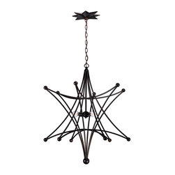 Crystorama - Crystorama 9236-EB Astro Transitional Chandelier - Bring Stargazing indoors with this conversation starter. A little bit cowboy, a little bit Olde World, and a little bit modern, the Astro collection marries hallmarks of each with whimsy and out of this world styling for a variety of decors.