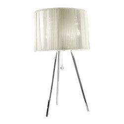AXO Light - Obi Table Lamp by AXO Light - A sash traditionally worn with Japanese kimonos, the obi is reinterpreted for the contemporary AXO Light Obi Table Lamp. Designed by Manuel Vivian, the shade is composed of numerous ribbons of silk. Available in Tobacco or White silk with a White liner, both of which perfectly complement the chrome-plated tripod frame. Italy's AXO Light combines traditional Venetian glasswork and artisan craftwork with avant-garde lighting techniques and innovative materials. Their design philosophy is clear: use creativity and inspiration to create stunning lighting replete with value and emotion.