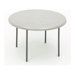 ICEBERG - IndestrucTable TOO 1200 Series 48 in. Round Folding Table in Platinum Finish - Strong and durable. Flexible. Multi-purpose utility. Resin construction. Lightweight. Easy to transport, set-up and store. 2 in. thick top has a soft, 1 in. beveled radius edge. Top supported by uniquely designed steel frame. Heavy duty 1 in. round powder coated steel tube legs with bracing. Legs include non-mar plastic feet. Legs fold into protective cavity for compact storage. Washable, dent and scratch resistant. Accommodates large, evenly distributed loads. Contemporary design. Applicable for indoor or outdoor use. Table top made from blow molded high density polyethylene. Made in USA. Weight Capacity: 600 lbs.. 48 in. Dia. x 29 in. HThe ultimate in durability, design and function, IndestrucTables are ideal for use in offices, banquets or any temporary work environment. This professional looking, lightweight folding table has many unique features and finishes and will last for many years – and still look as good as new!