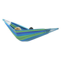"Sunnydaze Decor - Cotton Hammocks in ""Cool"" Color Combinations, Oasis - Bed size: 80in long, 60in wide"
