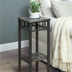 Monarch - Grey Marble/ Charcoal Metal Plant Stand - Add a modern touch to any room in your home with this stylish metal plant stand. This contemporary accent piece features sleek charcoal metal legs that are beautifully complemented by the smooth grey marble top and matching center shelf.