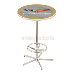 Holland Bar Stool - Holland Bar Stool L216 - 42 Inch Chrome Corvette - C6 Silver Pub Table W/ Gold A - L216 - 42 Inch Chrome Corvette - C6 Silver Pub Table W/ Gold Accent  belongs to General Motors Collection by Holland Bar Stool Made for the ultimate Corvette - C6 enthusiast, impress your buddies with this knockout from Holland Bar Stool. This L216 Corvette - C6 table with retro inspried base provides a quality piece to for your Man Cave. You can't find a higher quality logo table on the market. The plating grade steel used to build the frame ensures it will withstand the abuse of the rowdiest of friends for years to come. The structure is triple chrome plated to ensure a rich, sleek, long lasting finish. If you're finishing your bar or game room, do it right with a table from Holland Bar Stool.  Pub Table (1)