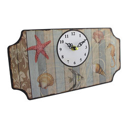 Striped Beach Themed Metal Wall Clock Plaque - This metal wall clock adds a finishing touch to rooms with beach themed decor. It measures 12 inches long, 6 inches tall, 1 inch deep, and it mounts to the wall with 2 nails or screws by the metal hangers on the back. The clock face is approximately 3 1/4 inches in diameter and has a white background with contrasting black numbers and decorative hands to mark the time. The clock features a quartz movement and runs on 1 AA battery (not included). This clock is perfect for beachy bedrooms, hallways, and offices.
